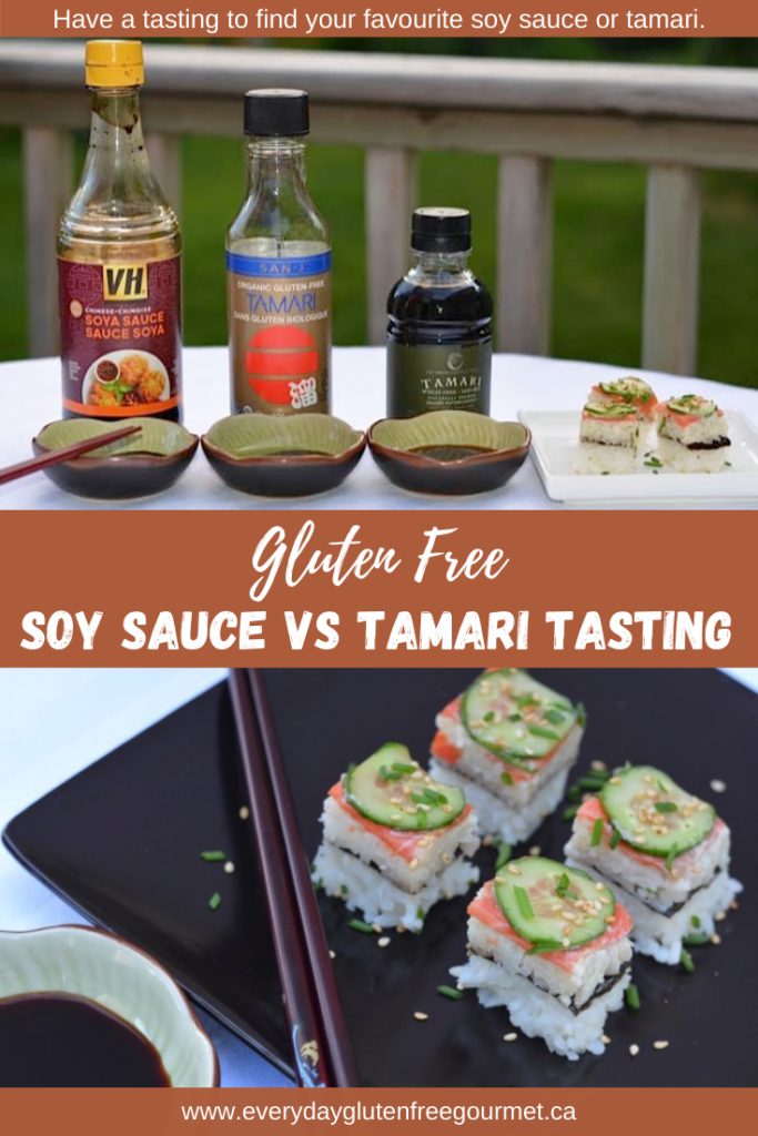 Three bottles of soy and tamari with sushi for a Soy Sauce vs Tamari Tasting.