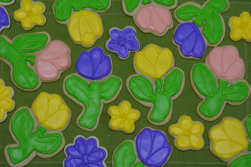 Colourful sugar cookies decorated with royal icing