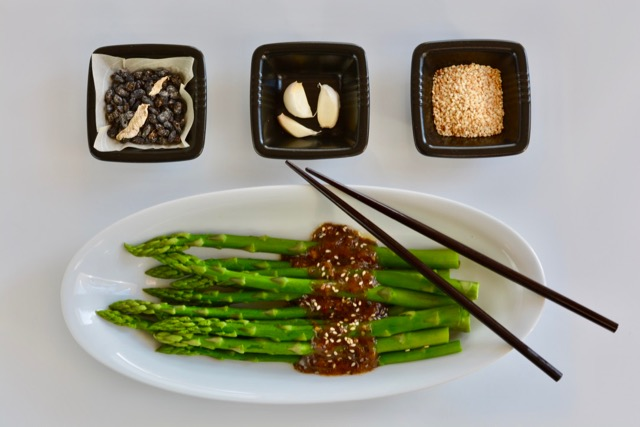 Asparagus with Black Bean Butter Sauce