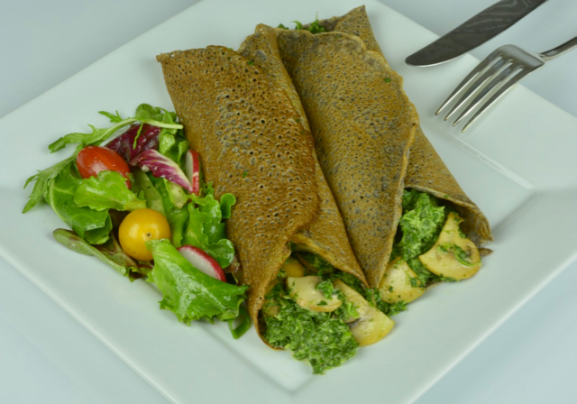 Savoury Buckwheat Crepes filled with spinach and mushrooms.
