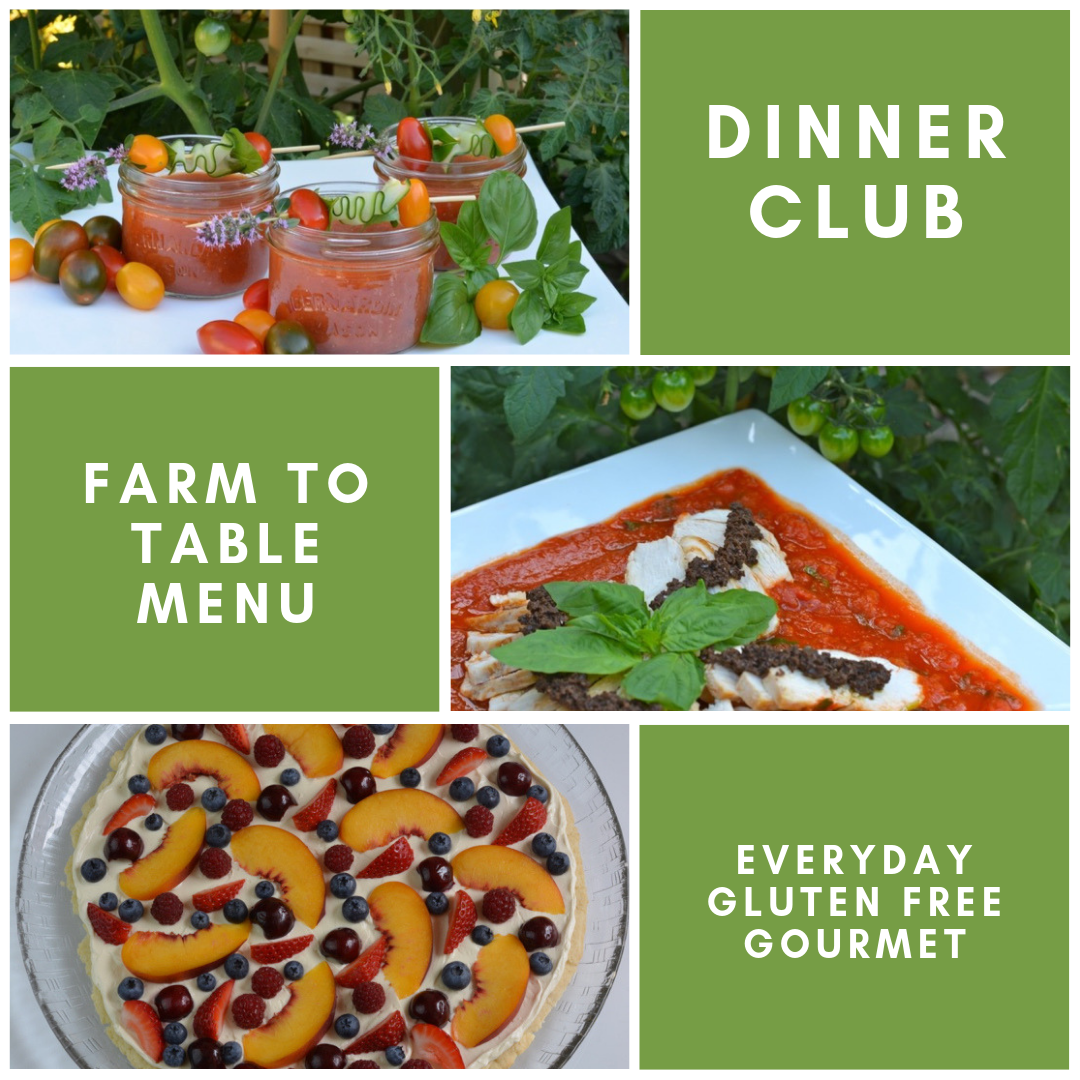Pictures of three recipes from a Farm To Table Menu; gazpacho in Mason jars, chicken with tapenade on tomato basil sauce and a fresh fruit pizza.
