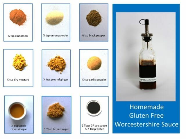 A bottle of homemade gluten free Worcestershire Sauce and pictures of all the ingredients.