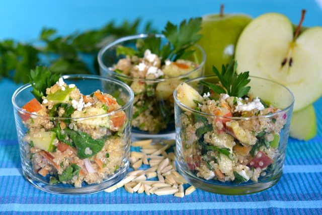 Individual dishes of Gluten Free Apple Quinoa Salad
