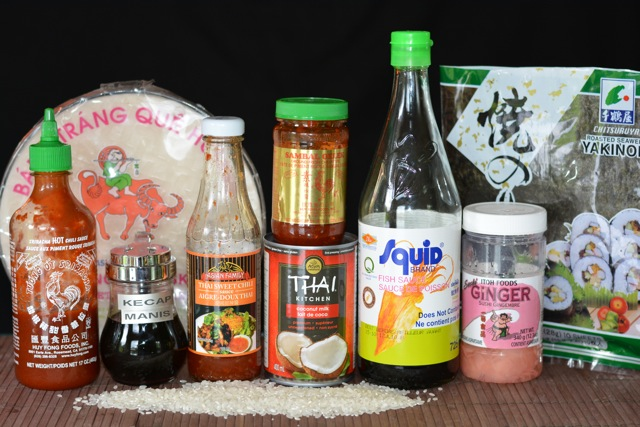 A gluten free Asian Pantry with items for cooking Vietnamese, Thai and Indonesian