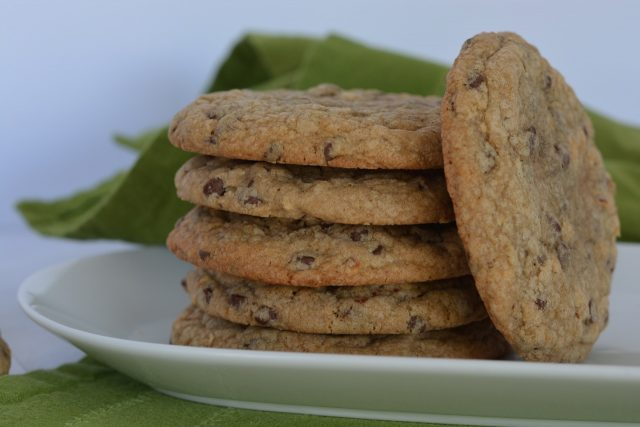 A stack of Chocolate Chip Cookies with teff flour.