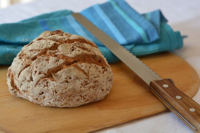 A boule of Gluten Free Crusty Bread right from the oven.