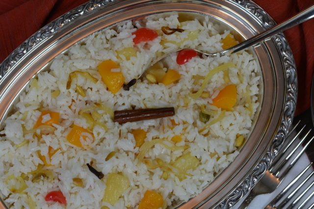 Fruited Rice Pilaf with pine nuts, the perfect side dish for an East Indian menu.