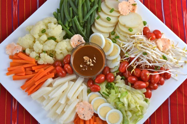 Gluten Free Gado Gado, the premiere Indonesian salad with peanut sauce.