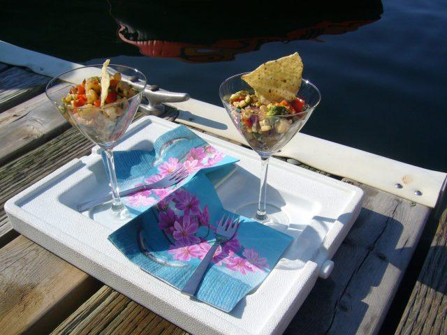 Grilled Shrimp Martinis served on a dock.