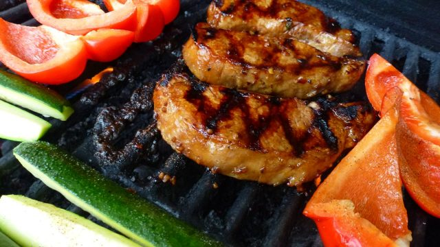 Mongolian Pork Chops on the grill.