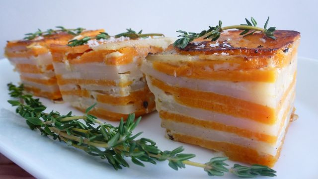 Square pieces of Scalloped White and Sweet Potatoes