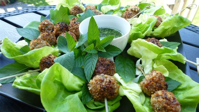 Gluten Free Spicy Thai Meatballs Wrapped in Lettuce