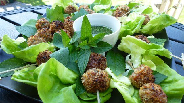 Gluten Free Spicy Thai Meatballs Wrapped in Lettuce