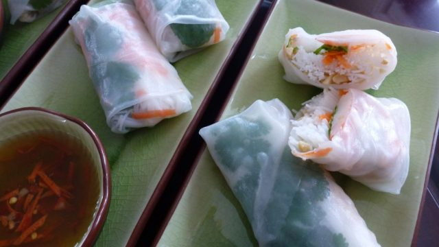 Vietnamese Salad Rolls with Nuoc Cham dipping sauce.