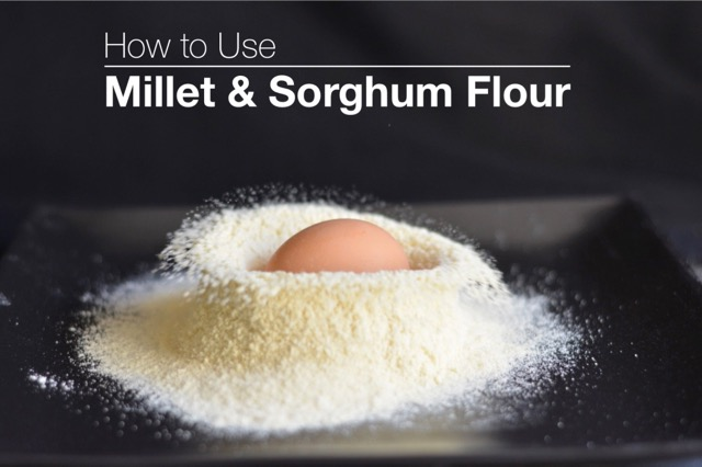 A playful pic of an egg dropping into millet flour for How To Use Millet Flour in gluten free baking.