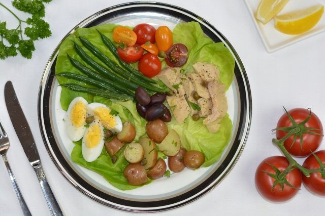 A composed Salad Nicoise ready to enjoy.