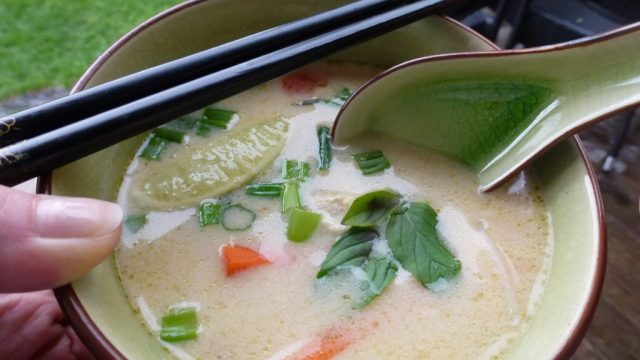 Vietnamese Lemongrass Chicken Noodle Soup containing gluten free coconut milk.