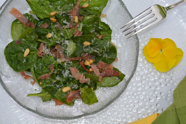 Warm Spinach Basil Salad