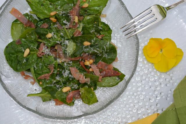 Warm Spinach Basil Salad