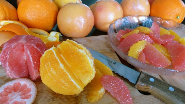 Fresh grapefruit and orange supremes, citrus fruit is in season.