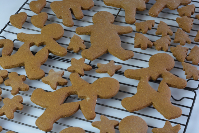 A rack of Gingerbread Cookies cooling.