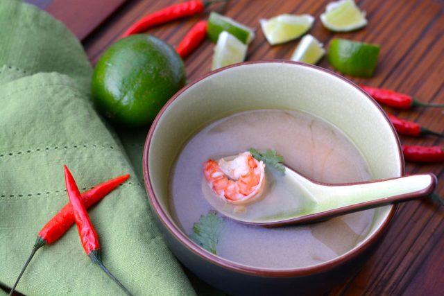 A bowl of homemade Thai Spicy Shrimp Soup.