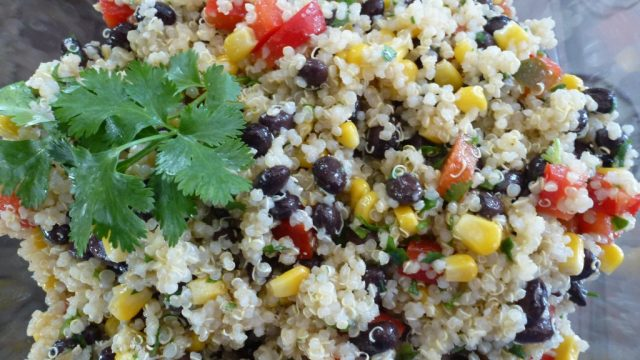 A close up of a gluten free southwestern quinoa salad.