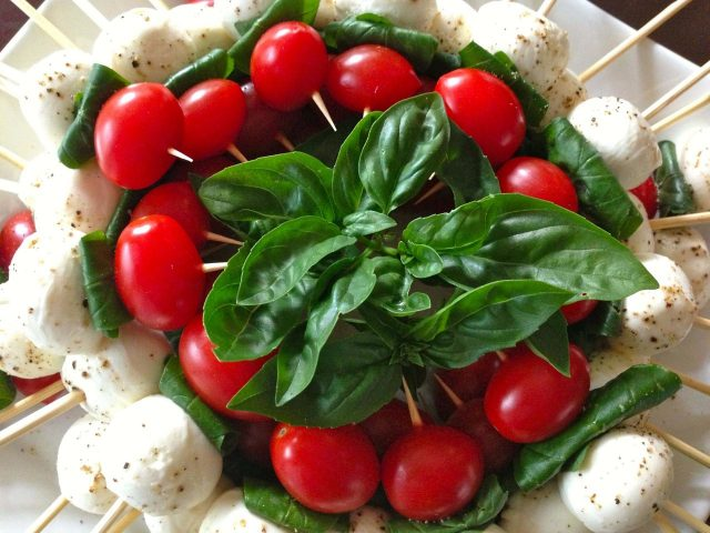 Tomato bocconcini and basil skewers