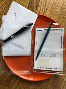 Two sizes of Sticky Labels with a pen in each package for easy use