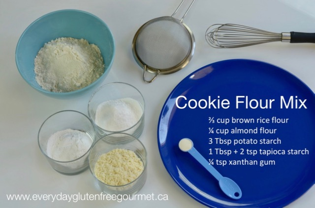 Bowls with the ingredients for a cookie flour mix.