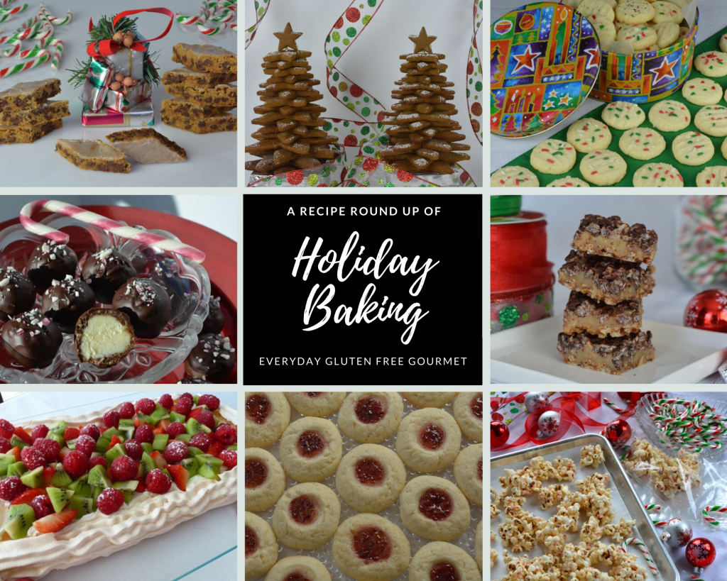 Photos of the Recipe Round Up of Holiday Baking. Cappuccinos, gingerbread, shortbread, Nanaimo Balls, toffee squares, pavlova, thumbprint cookies plus white chocolate and candy cane popcorn.
