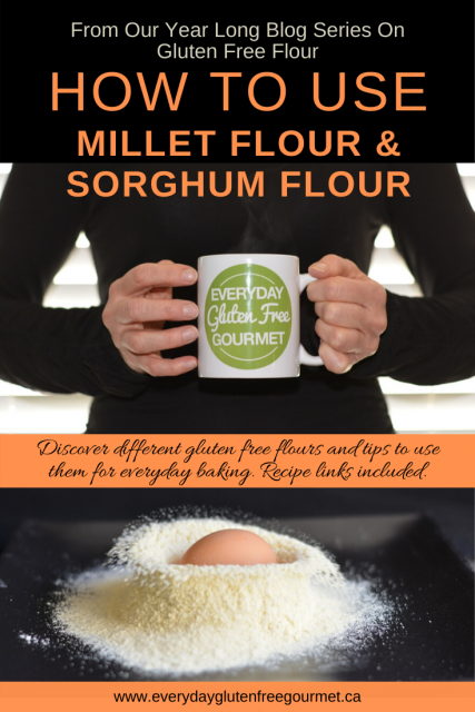 Photo of the Everyday Gluten Free Gourmet in black, holding coffee mug with logo, underneath is picture of her with an egg dropped in a pile of millet flour on a black background.