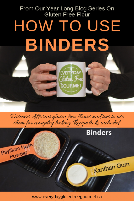 Photo of the Everyday Gluten Free Gourmet in black, holding coffee mug with logo, underneath is picture of 2 binders, psyllium husk and xanthan gum.
