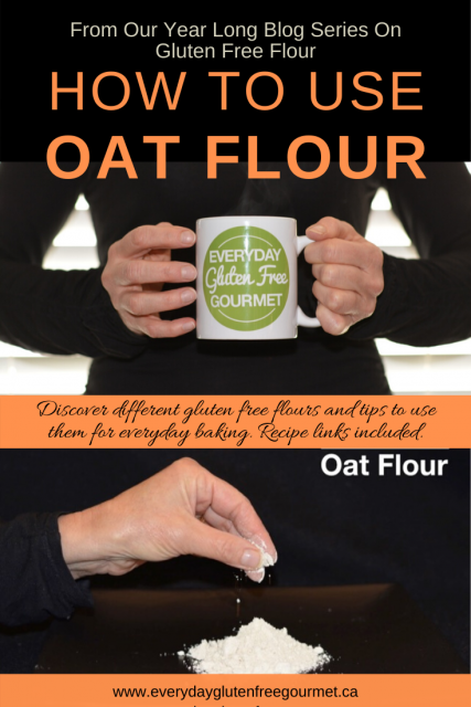 Photo of the Everyday Gluten Free Gourmet in black, holding coffee mug with logo, underneath is picture of her hand sprinkling oat flour.