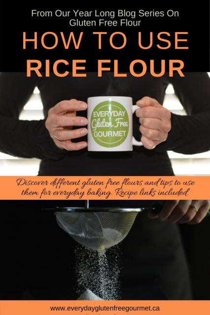 Photo of the Everyday Gluten Free Gourmet in black, holding coffee mug with logo, underneath is picture of her using rice flour on a black background.