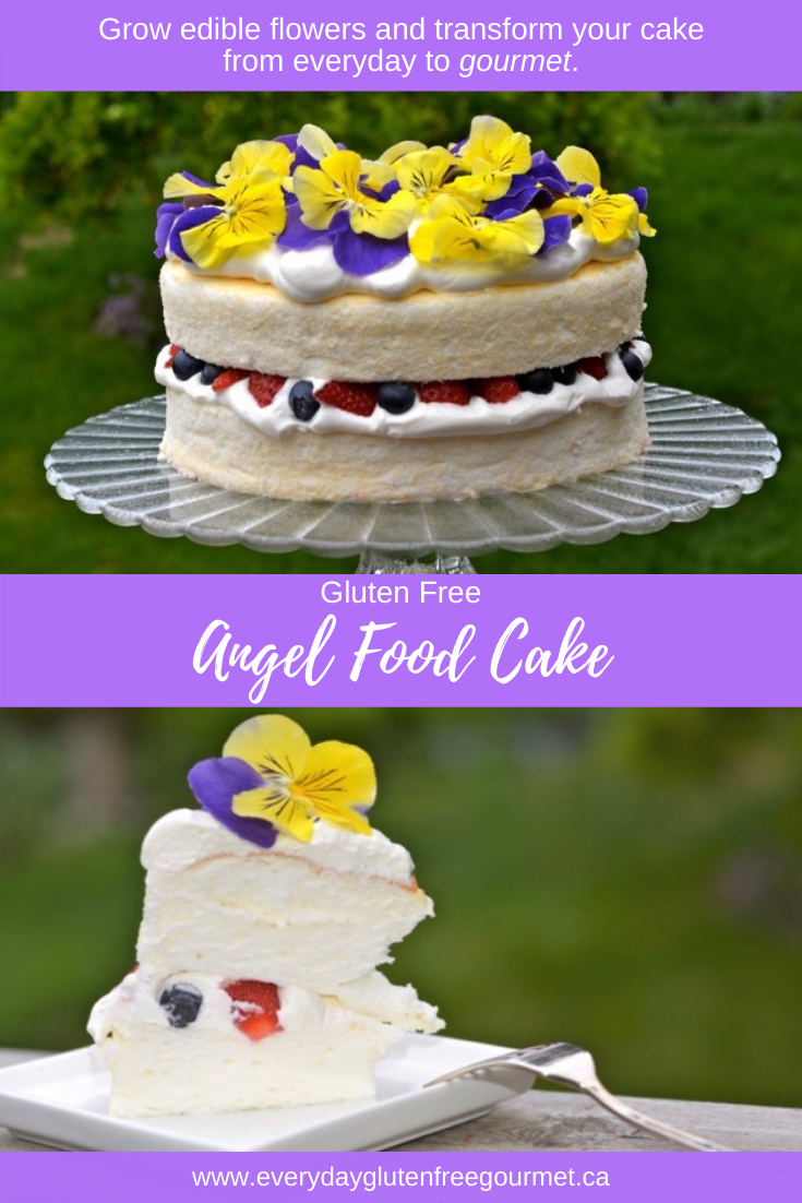 Angel Food Cake decorated with fresh pansies.