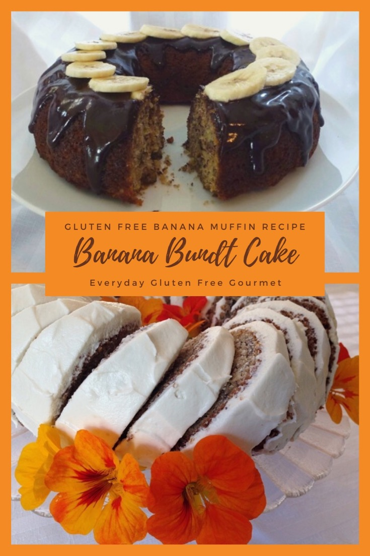 Banana Bundt Cake two ways - with a chocolate glaze or cream cheese icing. Both delicious.