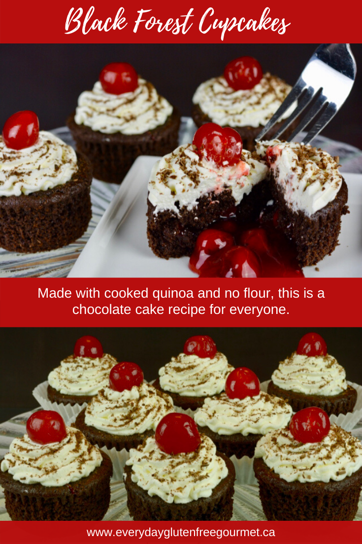 Black Forest Cupcakes made with cooked quinoa is naturally gluten free.