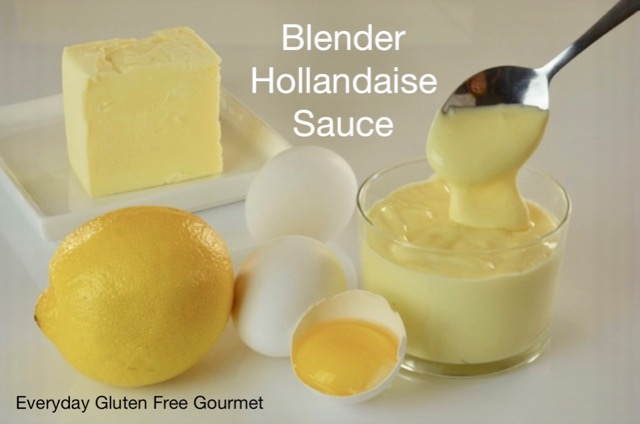 The ingredients and the finished Blender Hollandaise Sauce