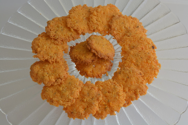 A platter of Cheddar Cheese Wafers
