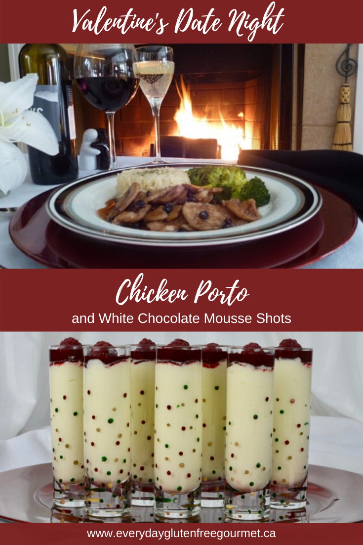 A Valentine's Date Night menu with Chicken Porto and White Chocolate Mousse Shots.