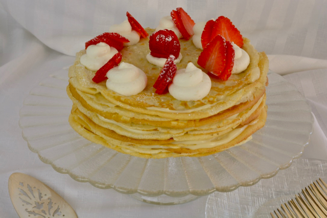 Crepe Cake Filled With Pastry Cream