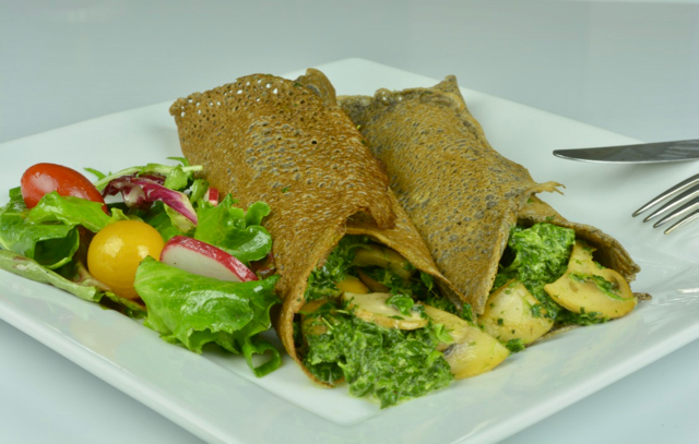 Savoury Buckwheat Crepes filled with mushrooms and spinach.