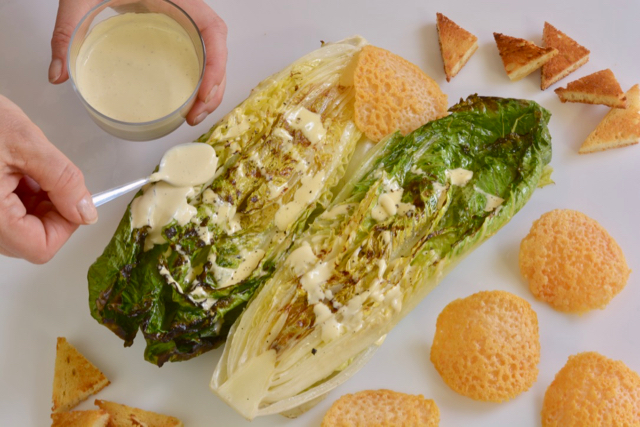 Deconstructed Grilled Caesar Salad with gluten free croutons and Parmesan cheese wafers