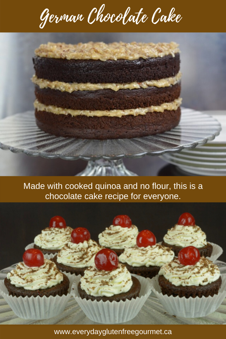 A German Chocolate Cake made with cooked quinoa, no flour at all.