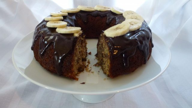 Gluten Free Banana Bundt Cake with Chocolate Glaze