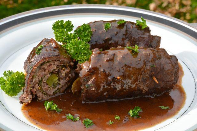 Rolls of Beef Rouladen with gravy.