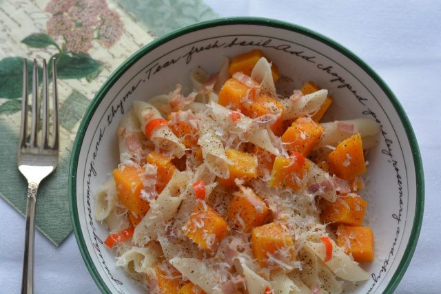 A bowl of Butternut Squash and Pancetta Penne.