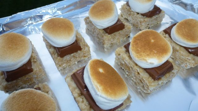 Gluten Free Rice Krispie Smores toasted and ready to eat.