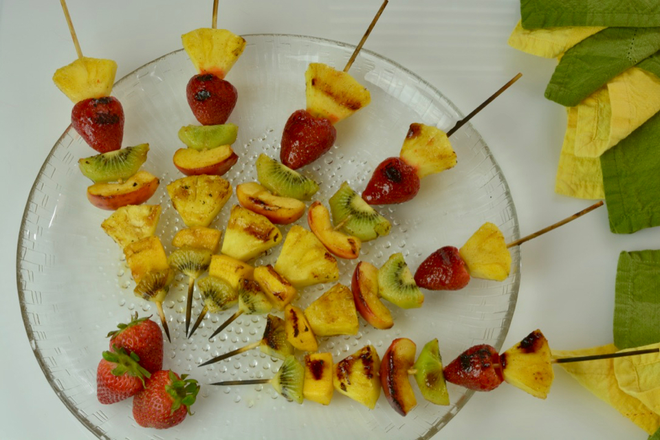 Grilled Fruit Skewers with Honey Cinnamon Glaze